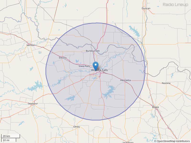 KQXC-FM Coverage Map