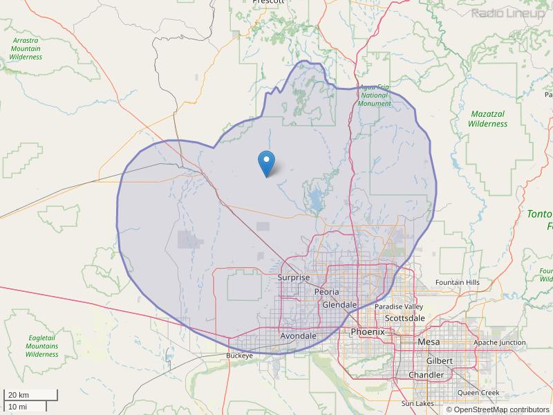 KOMR-FM Coverage Map