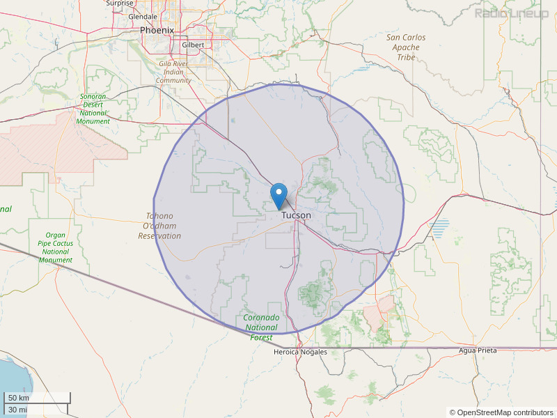 KHYT-FM Coverage Map