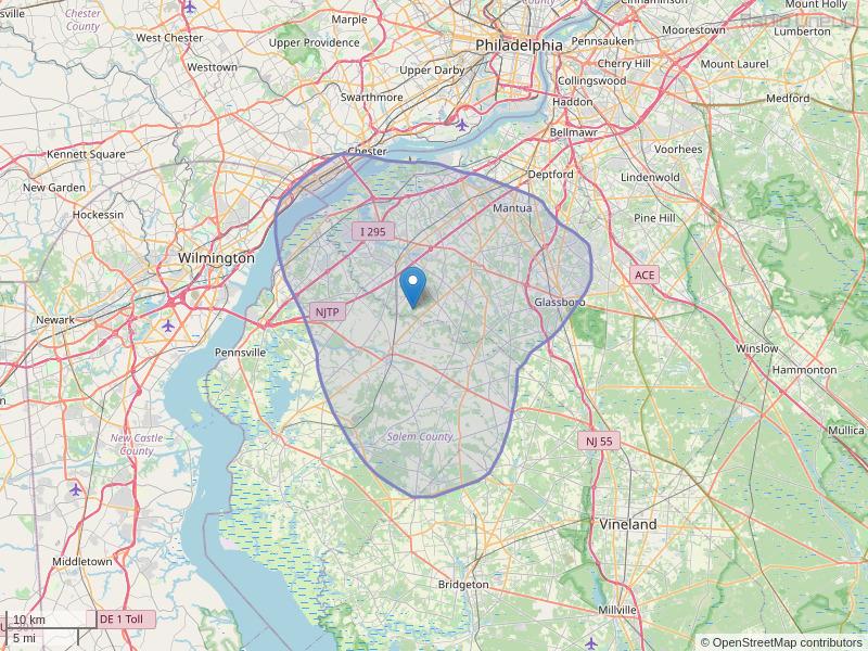 WGLS-FM Coverage Map