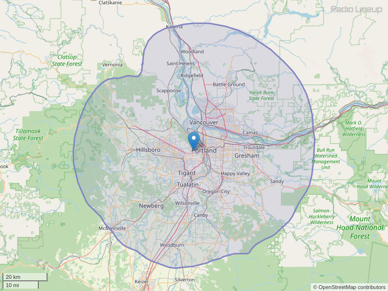 KQAC-FM Coverage Map