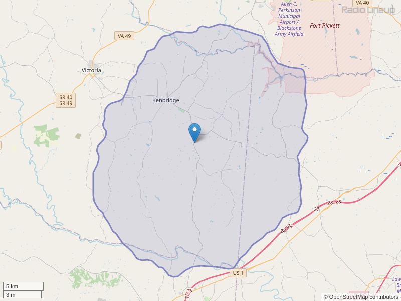 WPEX-FM Coverage Map