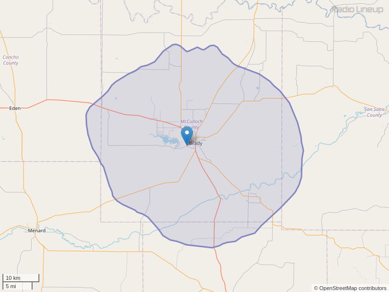 KNEL-FM Coverage Map