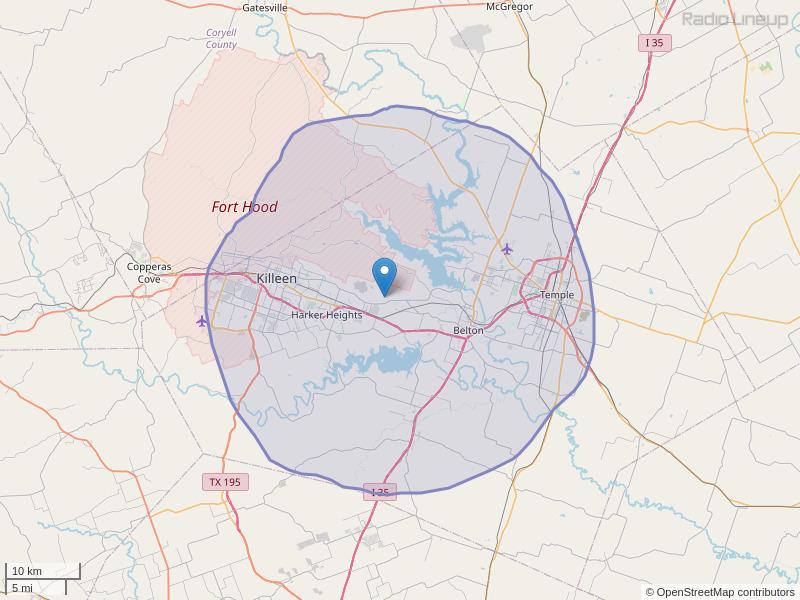 KLFX-FM Coverage Map