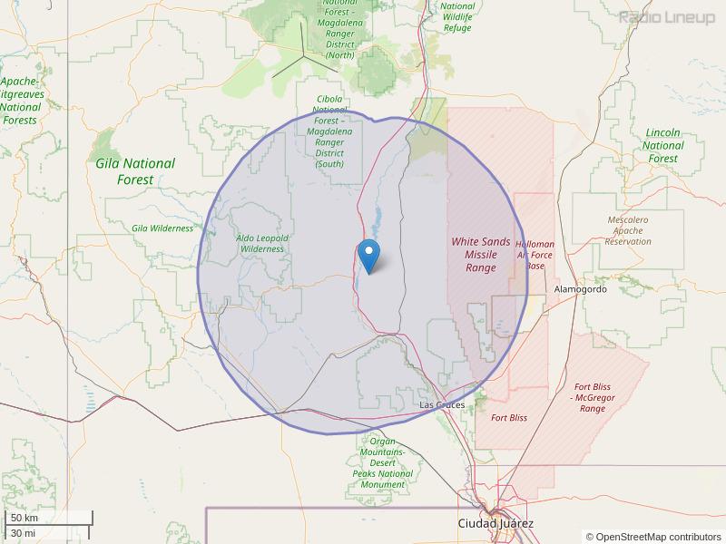 KSNM-FM Coverage Map