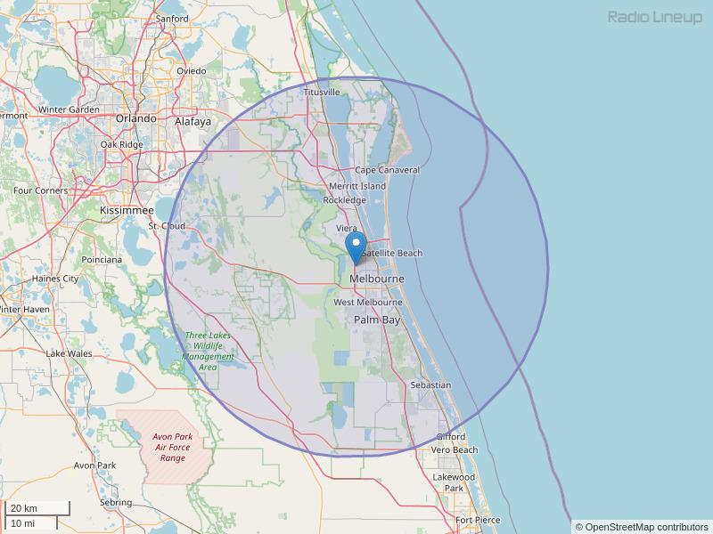 WAOA-FM Coverage Map