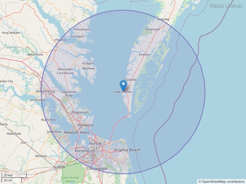 WROX-FM Coverage Map