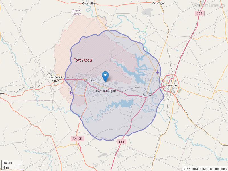KIIZ-FM Coverage Map
