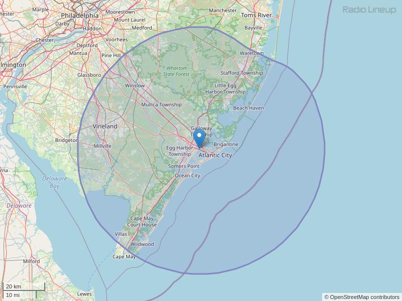 WMGM-FM Coverage Map