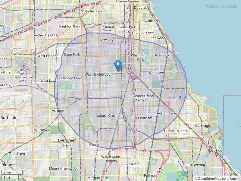 WKKC-FM Coverage Map