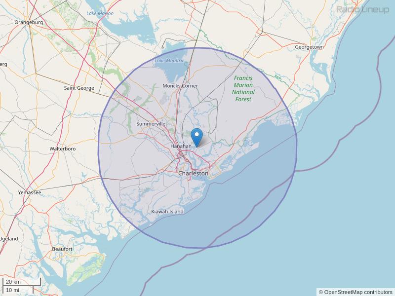WWWZ-FM Coverage Map