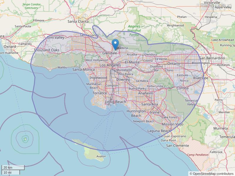 KLAX-FM Coverage Map