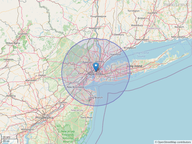 WSKQ-FM Coverage Map