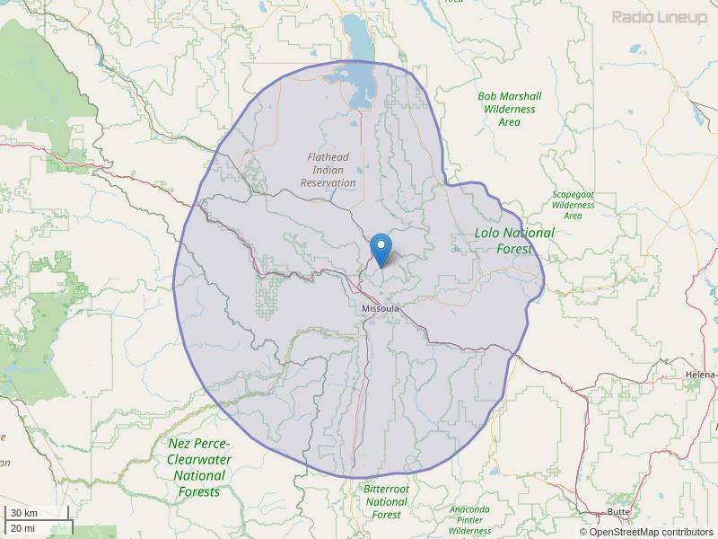 KGGL-FM Coverage Map