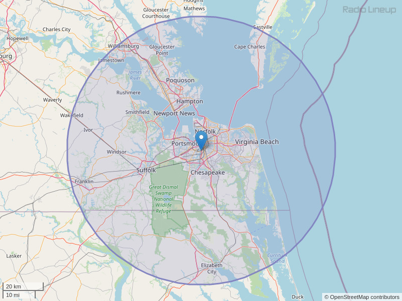 WPTE-FM Coverage Map