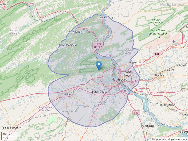 WJAZ-FM Coverage Map