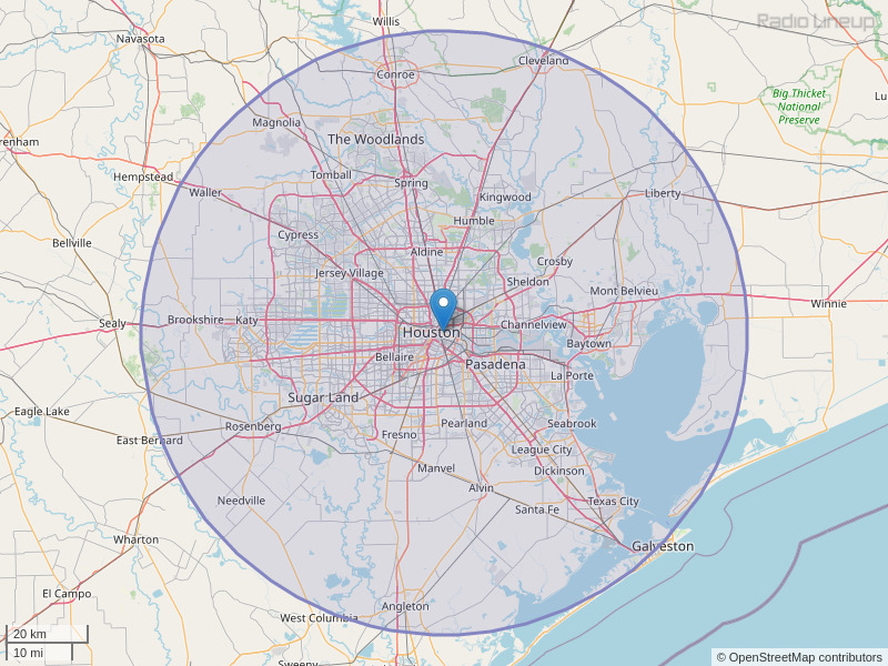 KLTN-FM Coverage Map