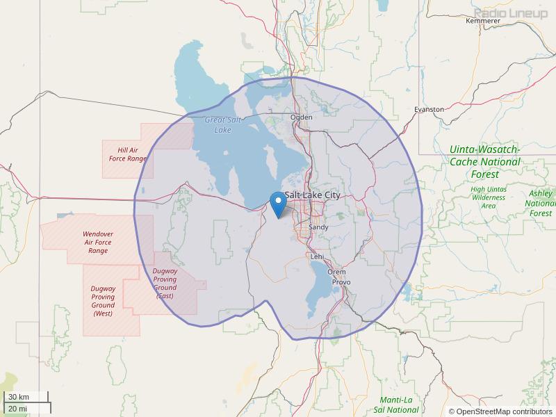 KJMY-FM Coverage Map