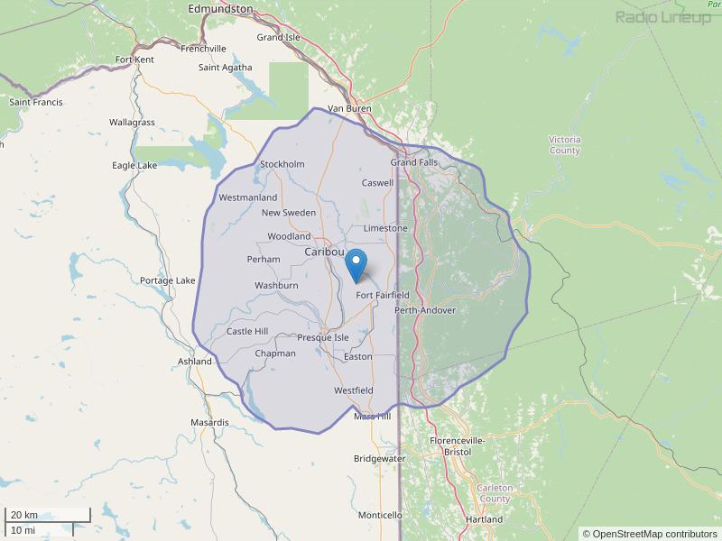 WCXU-FM Coverage Map