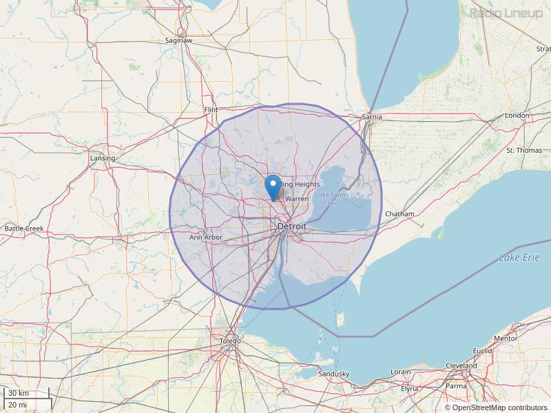 WKQI-FM Coverage Map