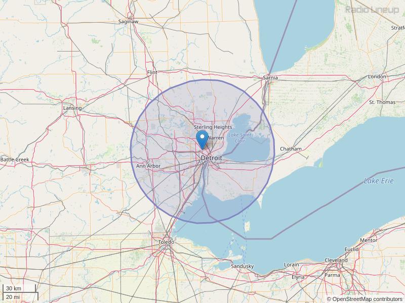 WNIC-FM Coverage Map