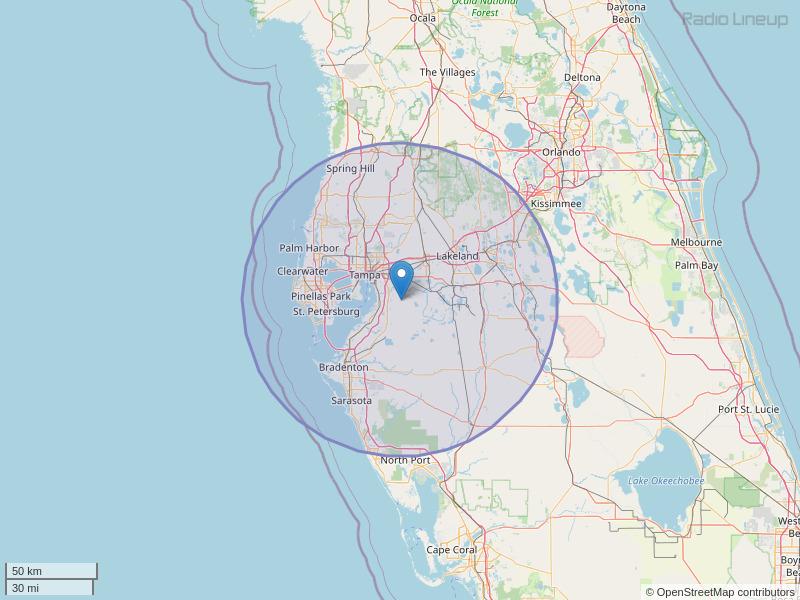 WPOI-FM Coverage Map