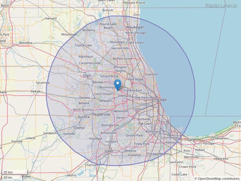 WMBI-FM Coverage Map