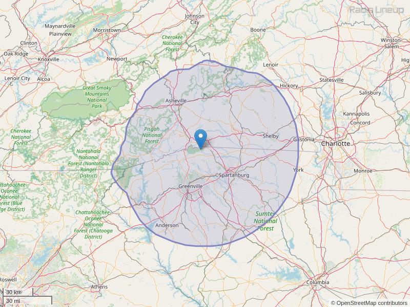 WSPA-FM Coverage Map