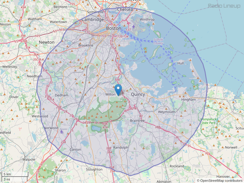 WUMB-FM Coverage Map