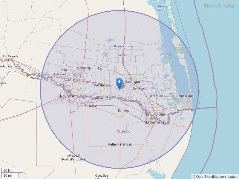 KGBT-FM Coverage Map
