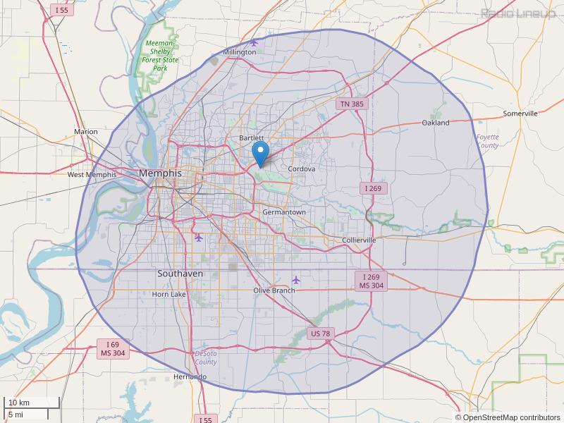 WYXR-FM Coverage Map