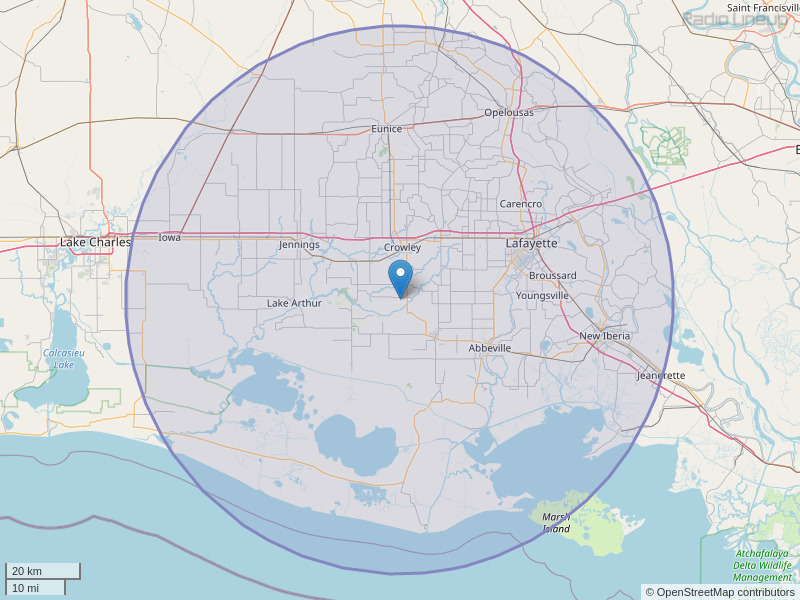 KYBG-FM Coverage Map