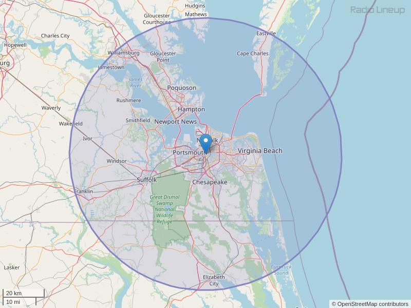 WNOR-FM Coverage Map