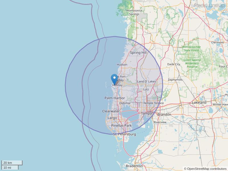 WSUN-FM Coverage Map