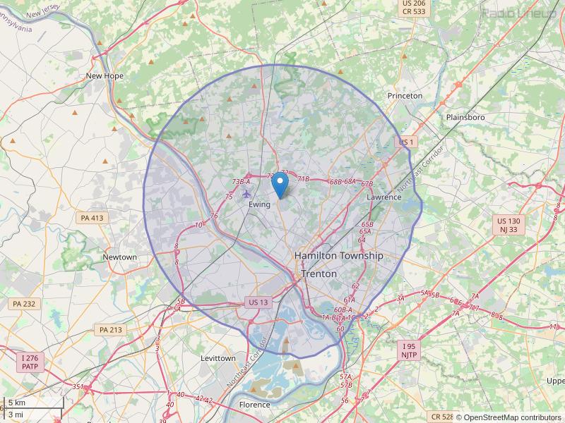 WTSR-FM Coverage Map