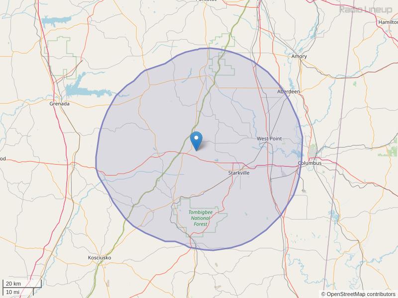 WLZA-FM Coverage Map