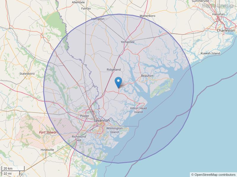 WYKZ-FM Coverage Map