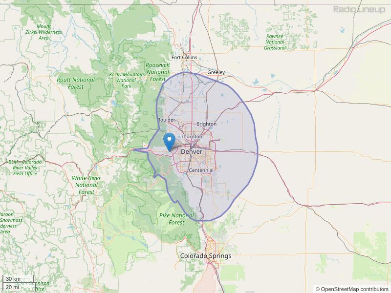 KTCL-FM Coverage Map