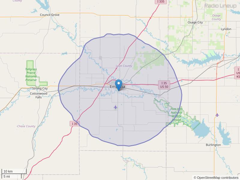 KFFX-FM Coverage Map
