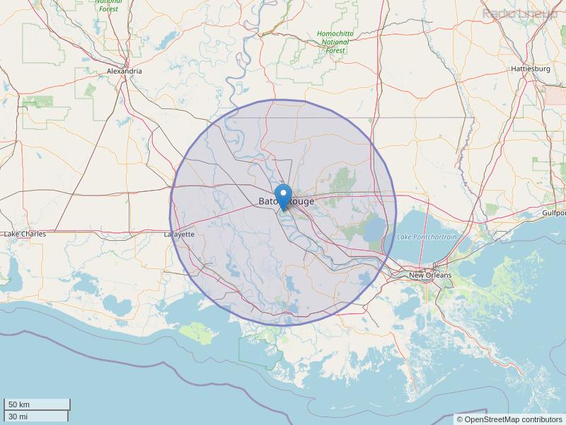 WTGE-FM Coverage Map