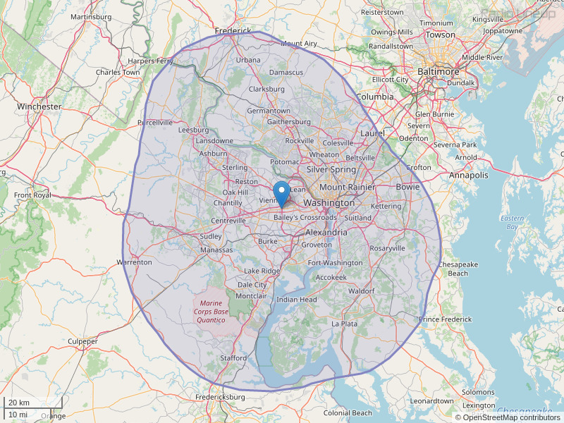 WMAL-FM Coverage Map