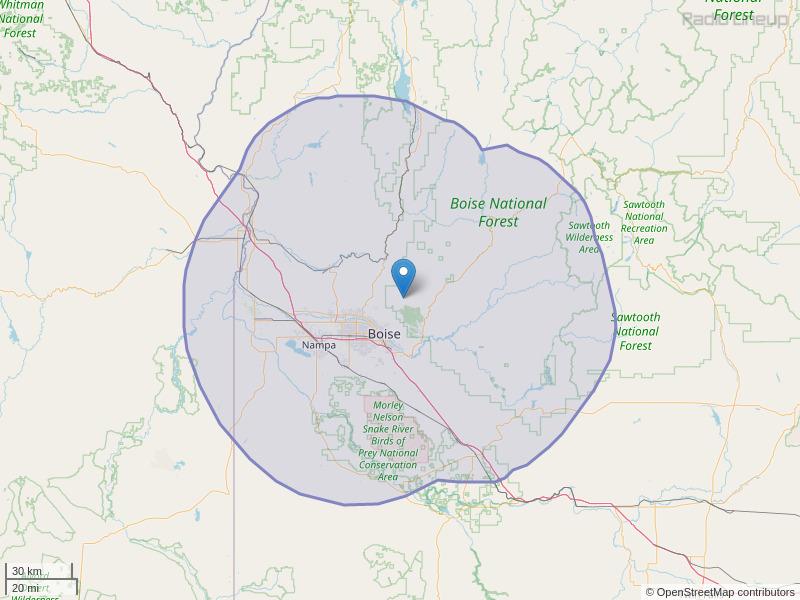KIZN-FM Coverage Map