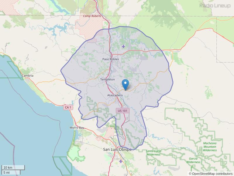 KXDZ-FM Coverage Map