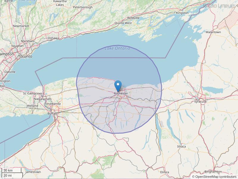 WBZA-FM Coverage Map