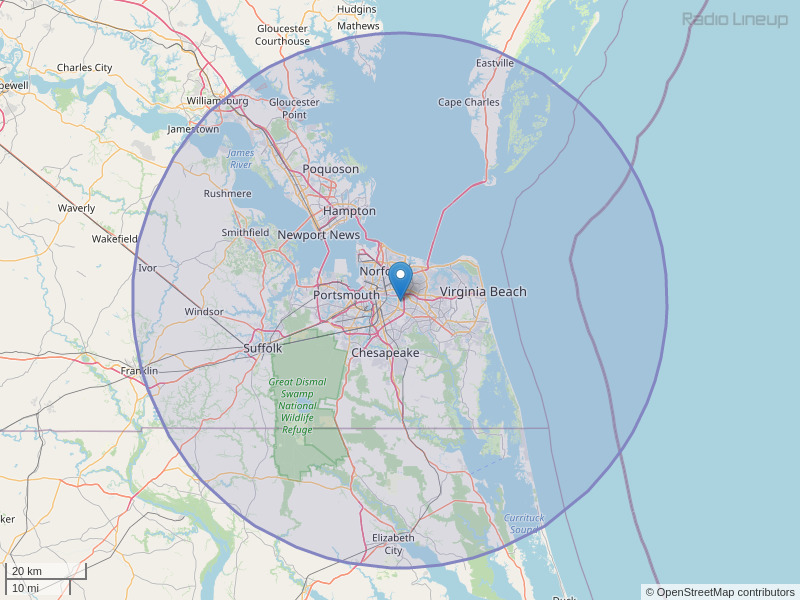 WVHT-FM Coverage Map