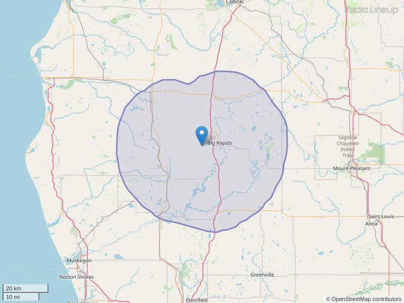 WYBR-FM Coverage Map