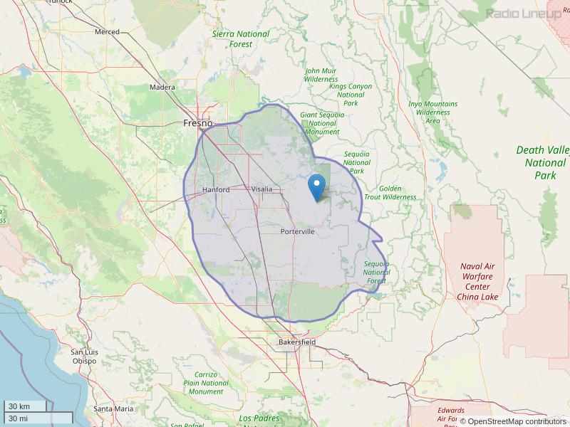 KJUG-FM Coverage Map