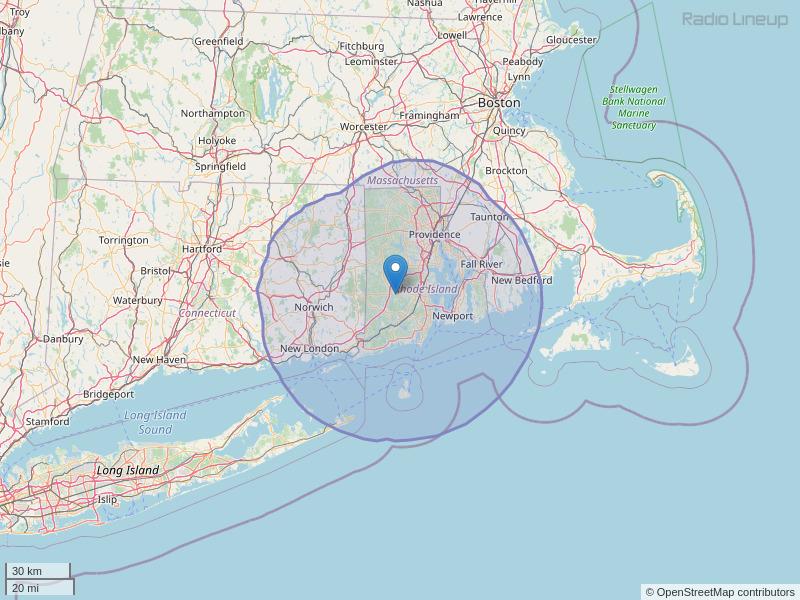 WVEI-FM Coverage Map