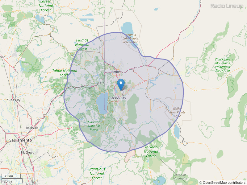 KNIS-FM Coverage Map