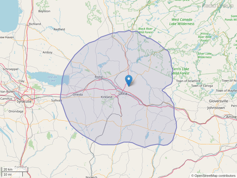 WODZ-FM Coverage Map